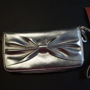 Mossimo Silver Bow Clutch Wallet